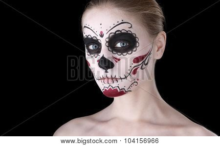 Woman With Dia De Los Muertos Makeup, Black Empty Space.