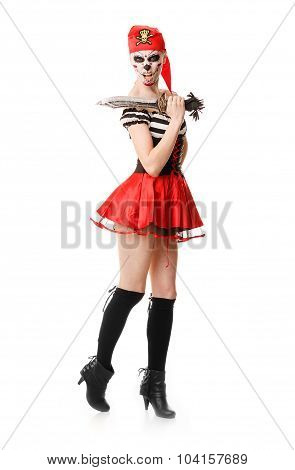 Woman Pirate With A Sword. Halloween Costume