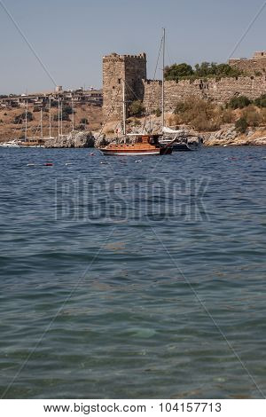 View Of Important Historic Landmark, Bodrum Castle From Mugla, Turkey