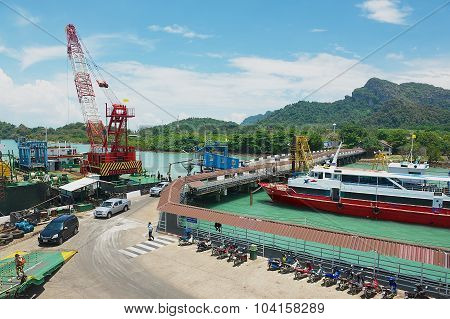 View to the ferry port in Donsak, in Surat Thani province, Thailand.