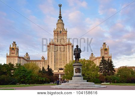 M.v.lomonosov Monument In Front Of Main Building Of Moscow State University, Moscow, Russia