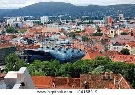 Graz top view and museum of modern art, Austria.