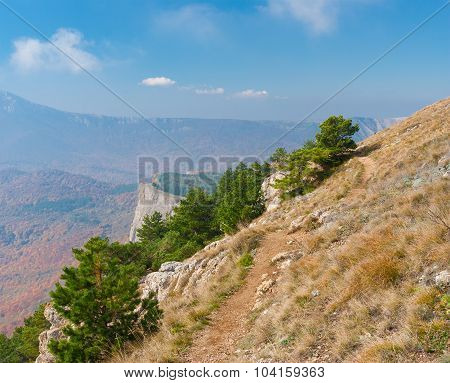Hiking path in Crimean mountains