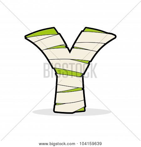 Letter Y Monster Zombie. Mummy Abc Icon. Alphabetical Icon Medical Bandages. Egyptian Concept Of Tem