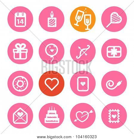Different Valentines Day icons set. Flat design elements