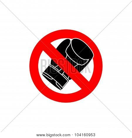Stop Boxing. It Is Forbidden To Fight. Frozen Boxing Glove. Emblem Against Fighters. Red Forbidding