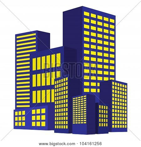Image Of Modern Building, Urban Cityscape, City Lights, Metropolis. Vector Illustration Isolated On