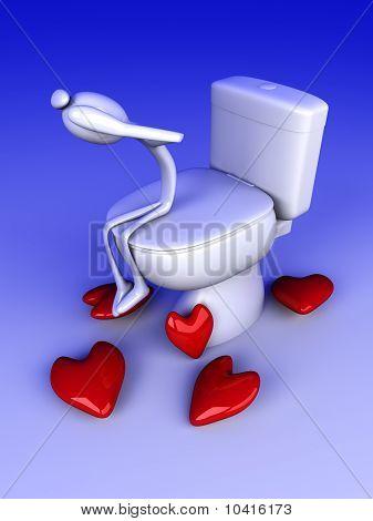Mal de amores en el baño.