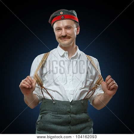 Happy Man In Suspenders.