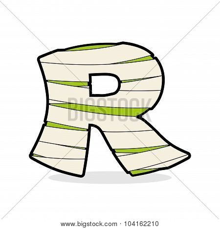 Letter R Monster Zombie. Alphabetical Icon Medical Bandages.  Egyptian Concept Of Template Elements