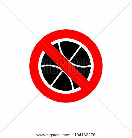 Stop Basketball. It Is Forbidden To Play Basketball. Frozen Is An Accessory For Game. Red Forbidding