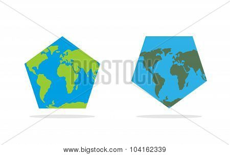Pentagonal World Map. World Land And Oceans On An Unusual Form Geographical Atlas