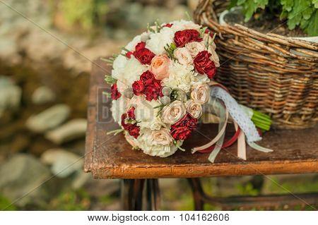 wedding bouquet on vintage furniture