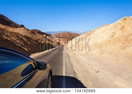Car driving in Death valley desert, California