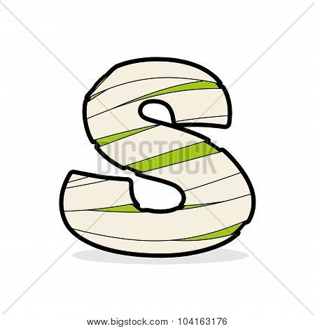 Letter S Egyptian Zombies. Mummy Abc Icon Coiled Medical Bandages. Monster Template Elements Alphabe