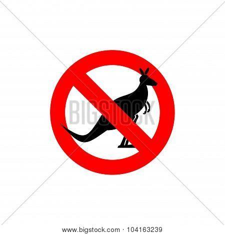 Stop Kangaroo. Forbidden Marsupial. Frozen Silhouette Australian Wild Beast. Red Forbidding Characte
