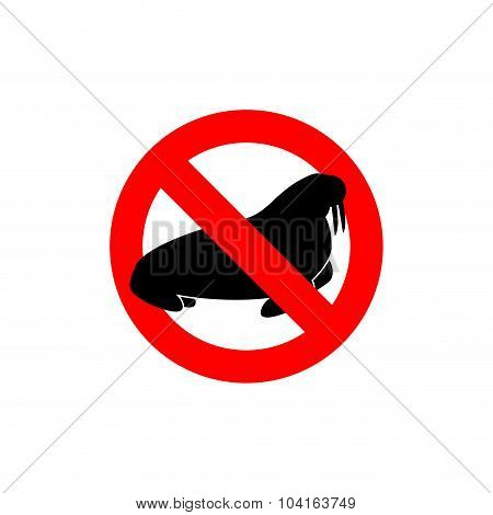Stop  Walrus. Seal Is Prohibited. Frozen Arctic Animal Swimming Cat Silhouette. Emblem Of Big Scary