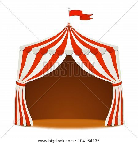 Circus Tent On White Backgound. Vector Background