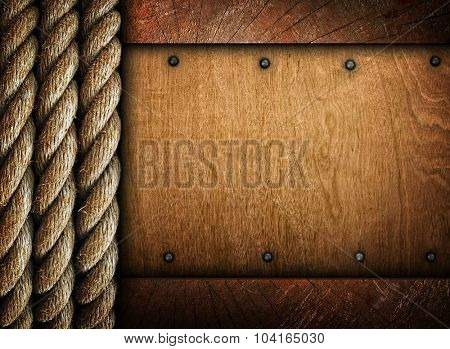 old wood board with rope design