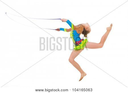 little gymnast doing an exercise jumping with skipping rope isolated on white background