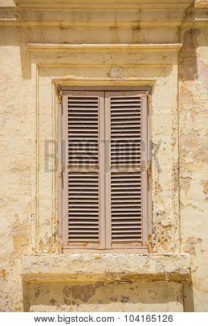 wooden window in Mdina, Malta
