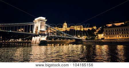 view on the Chain Bridge at night in Budapest