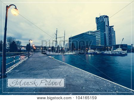 postcard with Baltic pier in Gdynia at evening, Poland