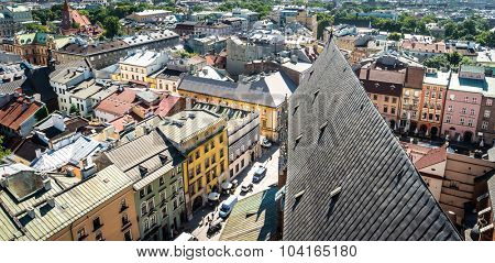 panoramic view on roofs and streets of Krakow