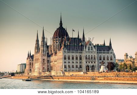 view on Hungarian Parliament from the Danube river