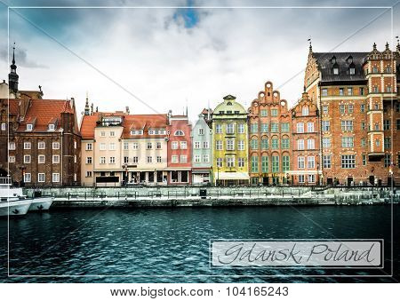 postcard with Cityscape on the Vistula River in historic city of Gdansk  in Poland