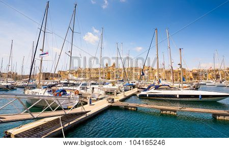 yachts in Valleta port on the background of the city in Malta