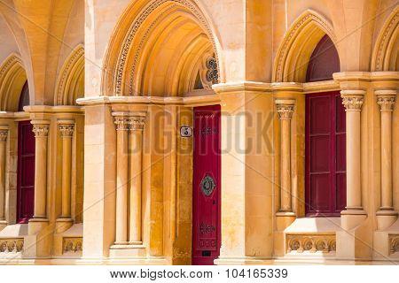beautiful arabic arch colonnade in Maltese Mdina