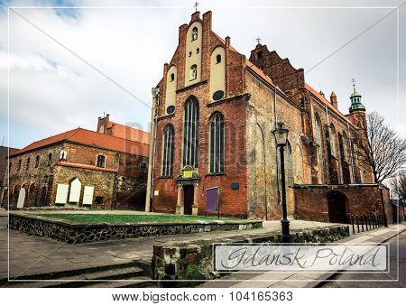 postcard with Historical Old Town of Gdansk in Poland