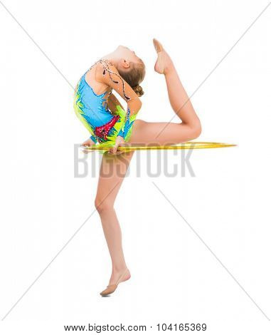 little gymnast doing an exercise with hoop isolated on white background