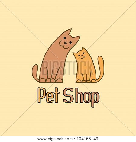 Cat and dog are best friends, sign for pet shop logo