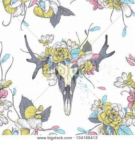 Seamless Pattern.skull Of Deer In Flowers.