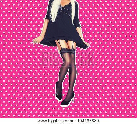 woman legs in elegant black high heel shoes