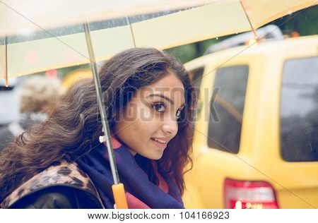 Indian Girl In New York In A Rainy Day. Urban Concept About New York City And Lifestyle