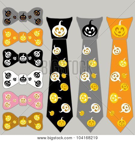 Collage Ties And The Bow Tie For Halloween With Pumpkin