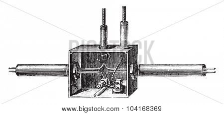 Branch box Edison pipe, vintage engraved illustration. Industrial encyclopedia E.-O. Lami - 1875.