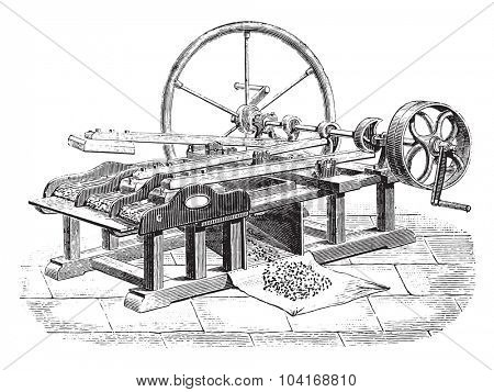 Gin flax Legris system, vintage engraved illustration. Industrial encyclopedia E.-O. Lami - 1875.