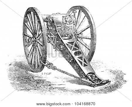 Cannon 80mm mountain, model 1878., vintage engraved illustration. Industrial encyclopedia E.-O. Lami - 1875.
