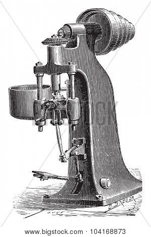 Machine trimming raw nuts forges mechanically, vintage engraved illustration. Industrial encyclopedia E.-O. Lami - 1875.