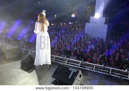 MOSCOW, RUSSIA - NOVEMBER 15, 2014: Akula (Oksana Pochepa) performs on stage at a party Diskach 90th in a club Space Moscow. The participants of the concert are Russian stars of the nineties