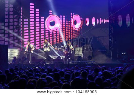 MOSCOW, RUSSIA - NOVEMBER 15, 2014: The musical group Na-Na performs on stage of a night club Space Moscow at a party Diskach 90th. The participants of the concert are Russian stars of the nineties