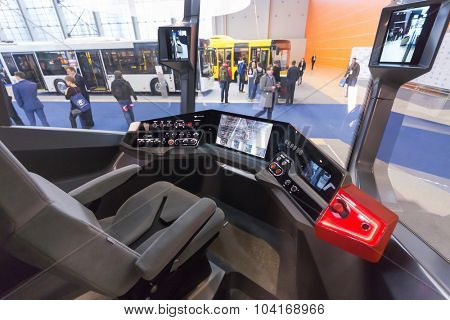 MOSCOW - OCT 30, 2014: In tram cabin at exhibition city transport ExpoCityTrans 2014