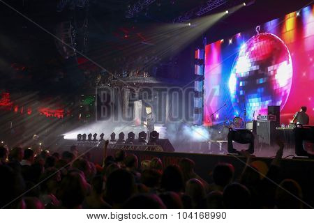 MOSCOW, RUSSIA - NOVEMBER 15, 2014: J-Power duet performs on stage at a party Diskach 90th in a club Space Moscow. J-Power - Russian pop group, founded in 2000