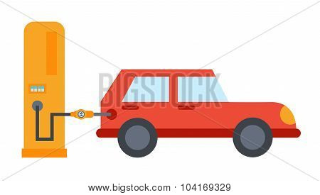 Vector Flat Car Refuelling Illustration