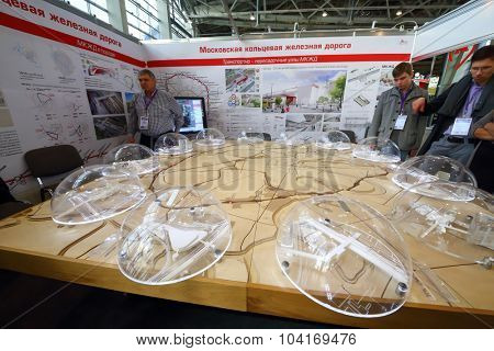 MOSCOW - OCT 30, 2014: Model of small ring of Moscow Railway at exhibition city transport ExpoCityTrans 2014