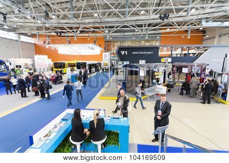 MOSCOW - OCT 30, 2014: Hall of Exhibition of city transport ExpoCityTrans 2014